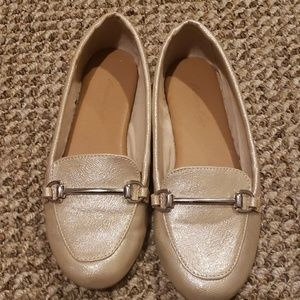 Girl's gold shimmery loafer dress shoes
